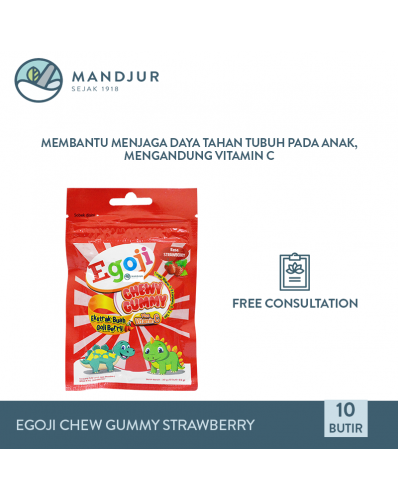 Egoji Chewy Gummy Strawberry Isi 10 Butir