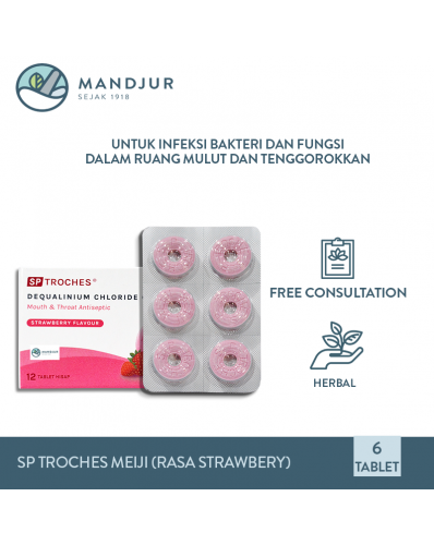 Tablet Hisap SP Troches Meiji (rasa strawberry)