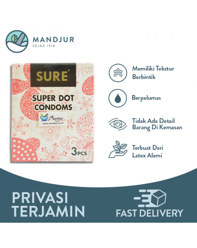 Kondom Sure Super Dot - Isi 3 Pcs